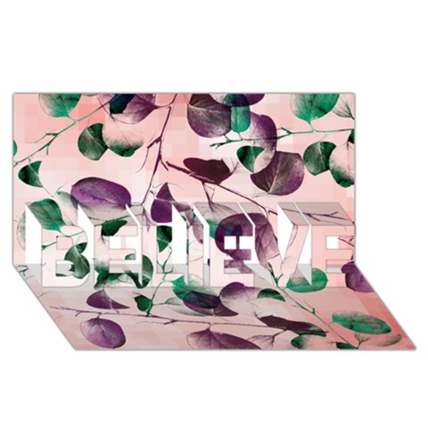 Spiral Eucalyptus Leaves BELIEVE 3D Greeting Card (8x4)