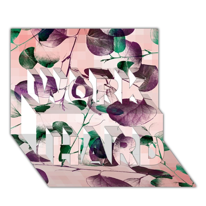 Spiral Eucalyptus Leaves WORK HARD 3D Greeting Card (7x5)