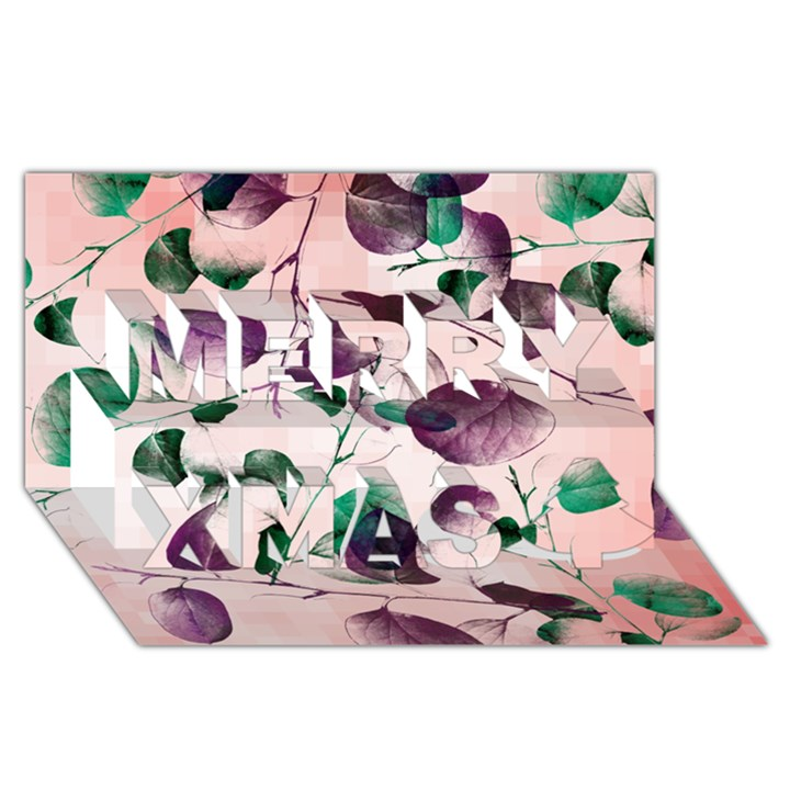 Spiral Eucalyptus Leaves Merry Xmas 3D Greeting Card (8x4)