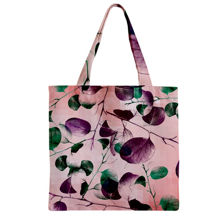 Spiral Eucalyptus Leaves Zipper Grocery Tote Bag