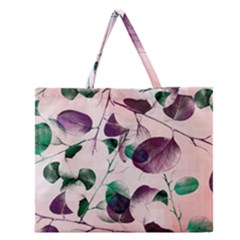 Spiral Eucalyptus Leaves Zipper Large Tote Bag