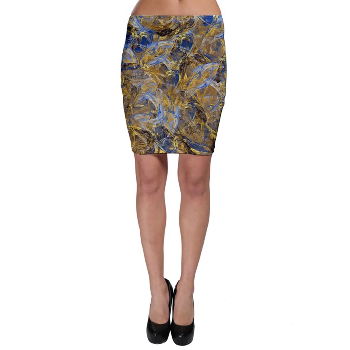 Antique Anciently Gold Blue Vintage Design Bodycon Skirt