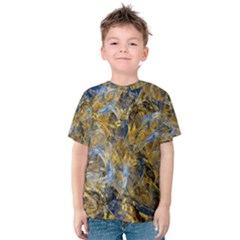 Antique Anciently Gold Blue Vintage Design Kids  Cotton Tee