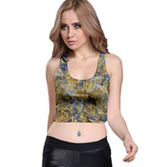 Antique Anciently Gold Blue Vintage Design Racer Back Crop Top