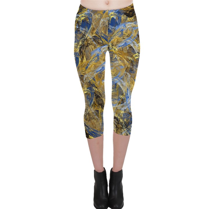 Antique Anciently Gold Blue Vintage Design Capri Leggings