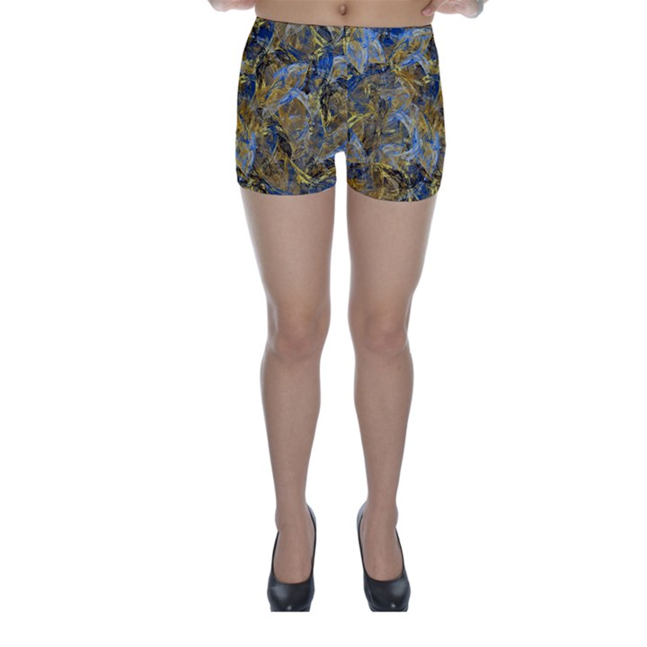 Antique Anciently Gold Blue Vintage Design Skinny Shorts