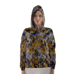 Antique Anciently Gold Blue Vintage Design Hooded Wind Breaker (women)