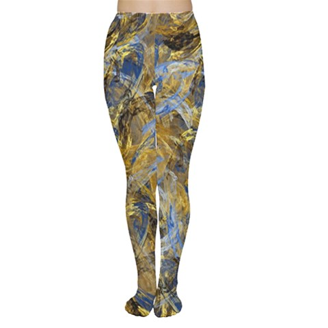 Antique Anciently Gold Blue Vintage Design Women s Tights