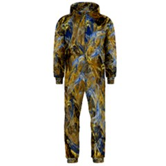 Antique Anciently Gold Blue Vintage Design Hooded Jumpsuit (Men)