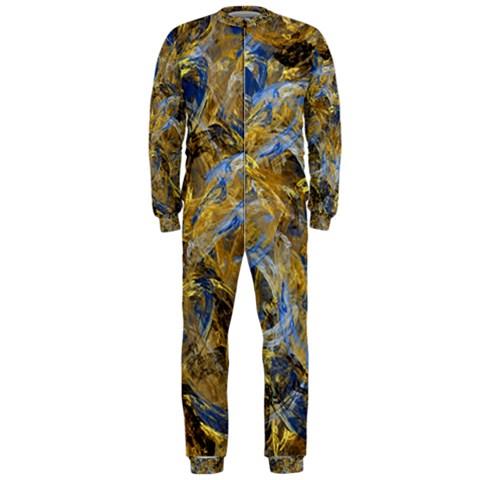 Antique Anciently Gold Blue Vintage Design OnePiece Jumpsuit (Men)