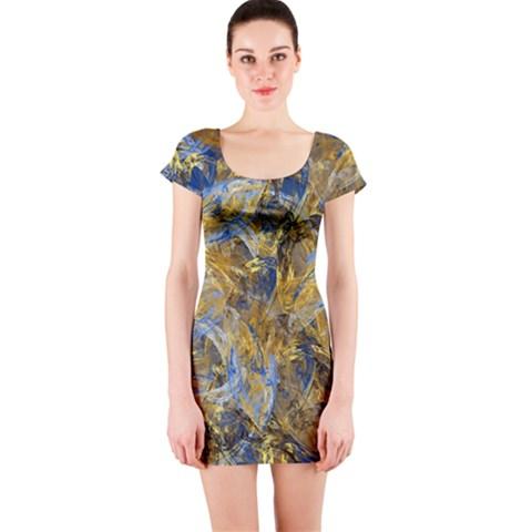 Antique Anciently Gold Blue Vintage Design Short Sleeve Bodycon Dress