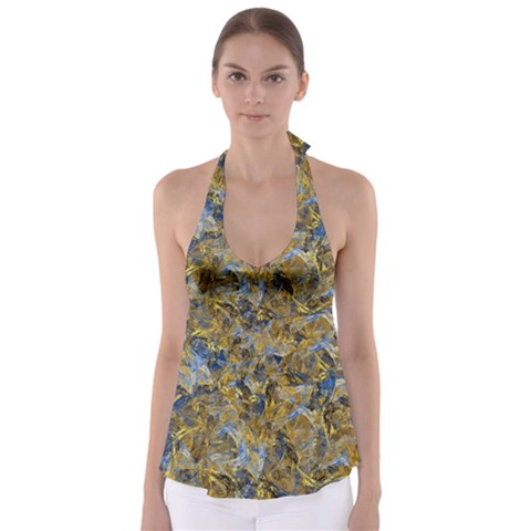 Antique Anciently Gold Blue Vintage Design Babydoll Tankini Top