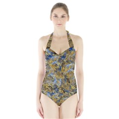 Antique Anciently Gold Blue Vintage Design Halter Swimsuit