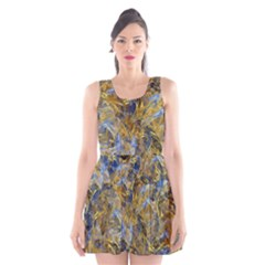 Antique Anciently Gold Blue Vintage Design Scoop Neck Skater Dress