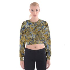 Antique Anciently Gold Blue Vintage Design Women s Cropped Sweatshirt