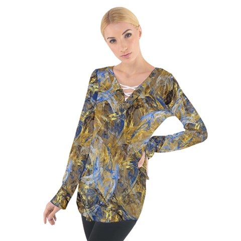 Antique Anciently Gold Blue Vintage Design Women s Tie Up Tee