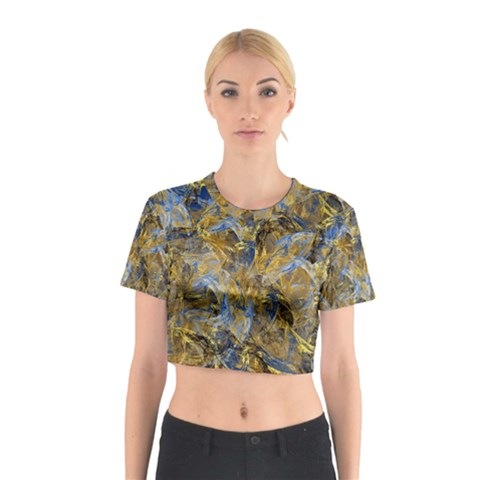 Antique Anciently Gold Blue Vintage Design Cotton Crop Top