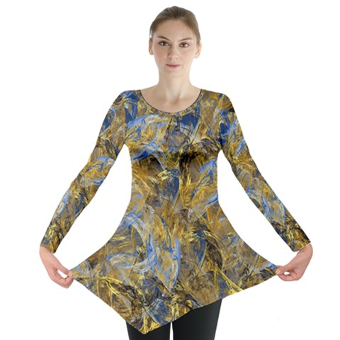 Antique Anciently Gold Blue Vintage Design Long Sleeve Tunic