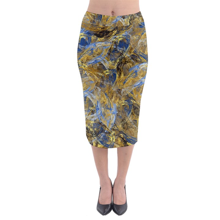 Antique Anciently Gold Blue Vintage Design Midi Pencil Skirt