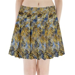 Antique Anciently Gold Blue Vintage Design Pleated Mini Skirt