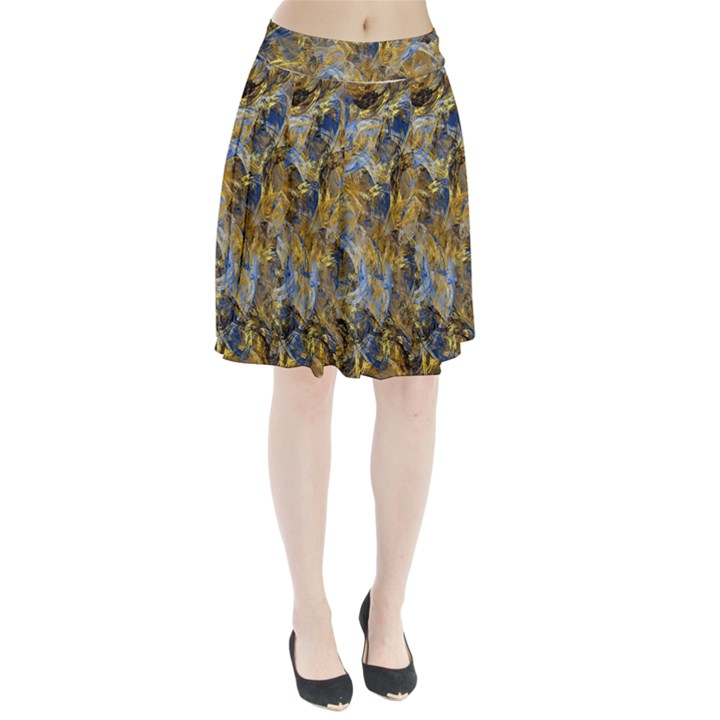 Antique Anciently Gold Blue Vintage Design Pleated Skirt