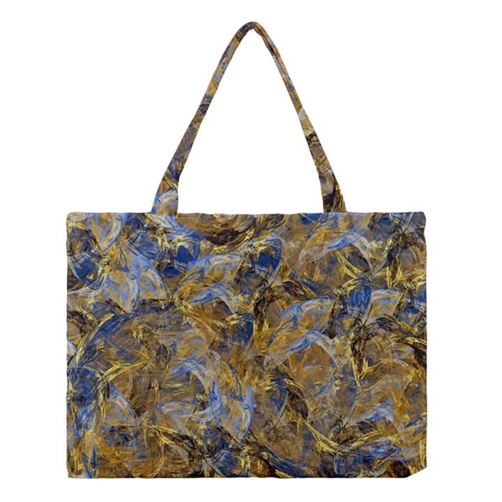 Antique Anciently Gold Blue Vintage Design Medium Tote Bag