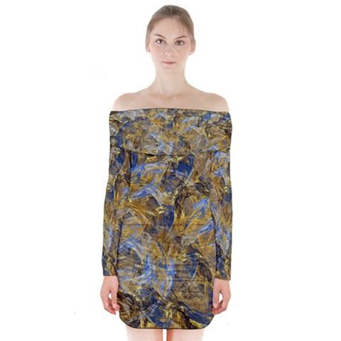 Antique Anciently Gold Blue Vintage Design Long Sleeve Off Shoulder Dress