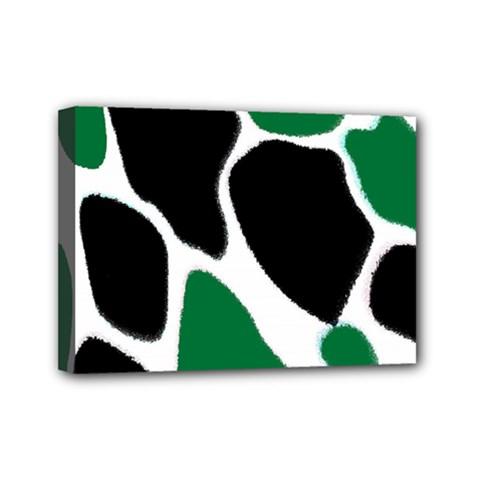 Green Black Digital Pattern Art Mini Canvas 7  x 5