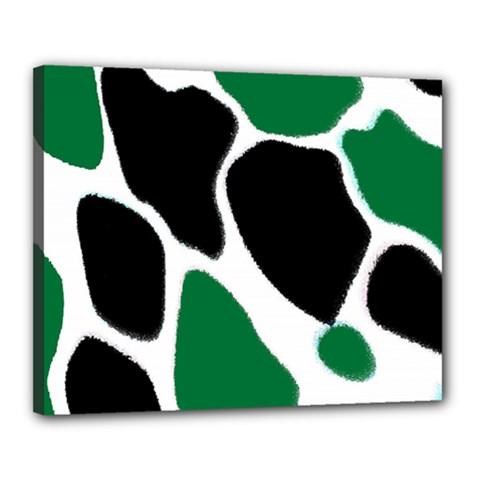 Green Black Digital Pattern Art Canvas 20  x 16