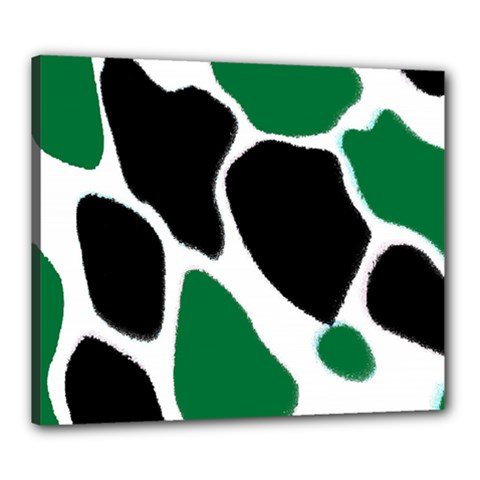 Green Black Digital Pattern Art Canvas 24  x 20