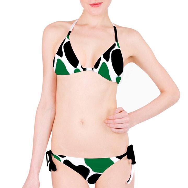 Green Black Digital Pattern Art Bikini Set