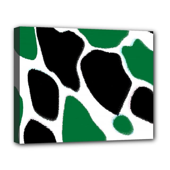 Green Black Digital Pattern Art Deluxe Canvas 20  x 16