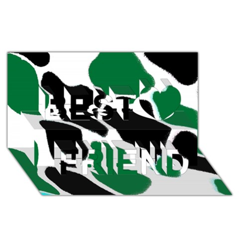 Green Black Digital Pattern Art Best Friends 3D Greeting Card (8x4)