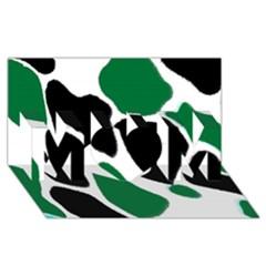 Green Black Digital Pattern Art MOM 3D Greeting Card (8x4)