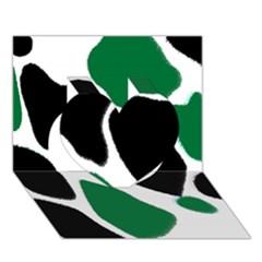 Green Black Digital Pattern Art Heart 3D Greeting Card (7x5)
