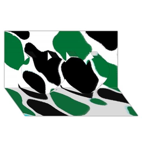 Green Black Digital Pattern Art Twin Hearts 3D Greeting Card (8x4)