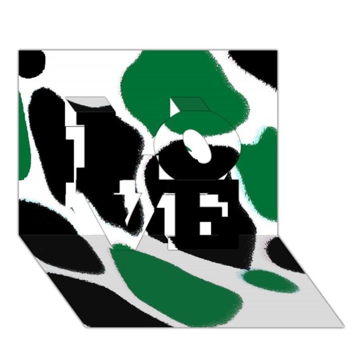 Green Black Digital Pattern Art LOVE 3D Greeting Card (7x5)