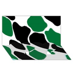 Green Black Digital Pattern Art Twin Heart Bottom 3D Greeting Card (8x4)