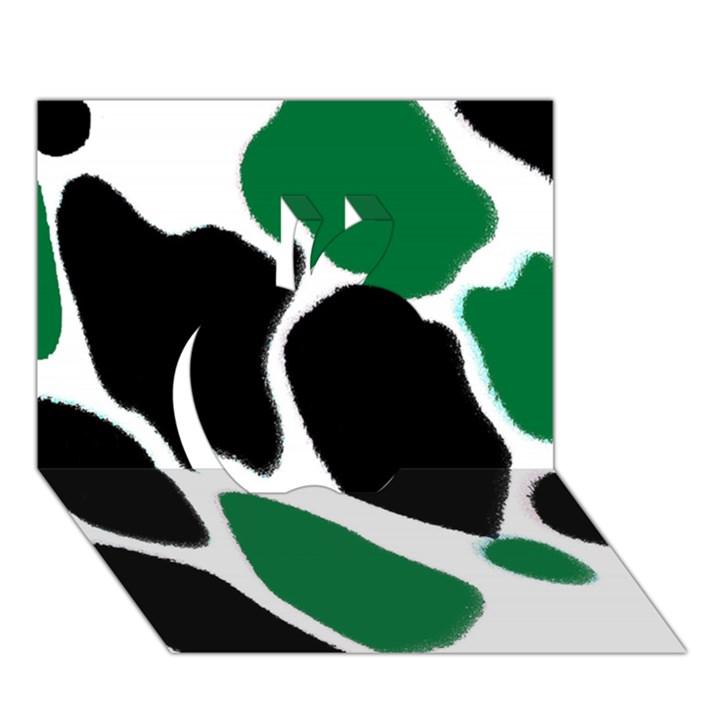 Green Black Digital Pattern Art Apple 3D Greeting Card (7x5)