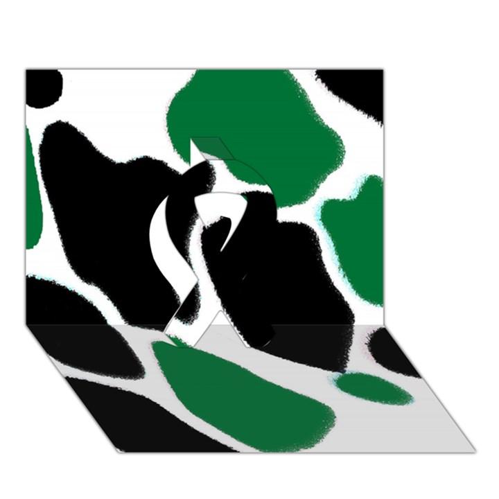 Green Black Digital Pattern Art Ribbon 3D Greeting Card (7x5)