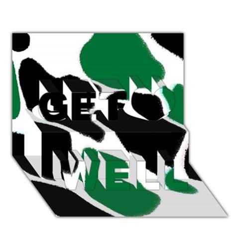 Green Black Digital Pattern Art Get Well 3D Greeting Card (7x5)