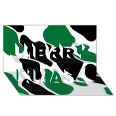 Green Black Digital Pattern Art Merry Xmas 3D Greeting Card (8x4)