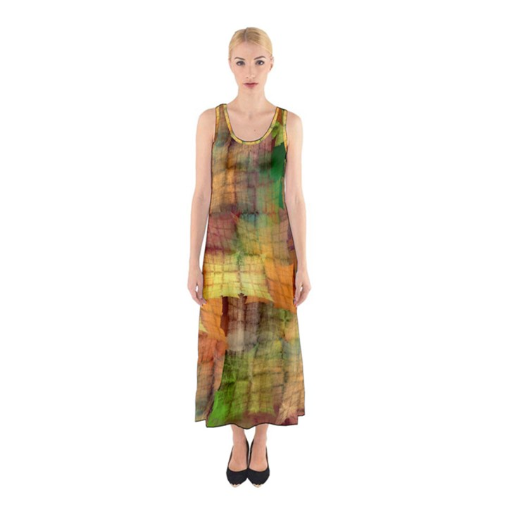 Indian Summer Funny Check Sleeveless Maxi Dress