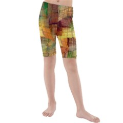 Indian Summer Funny Check Kids  Mid Length Swim Shorts