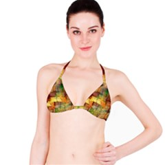 Indian Summer Funny Check Bikini Top