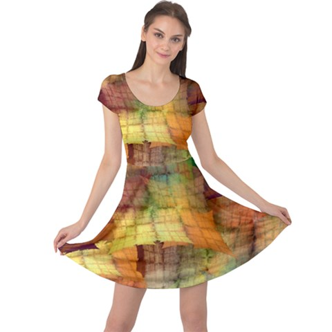Indian Summer Funny Check Cap Sleeve Dresses
