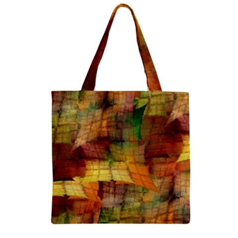 Indian Summer Funny Check Zipper Grocery Tote Bag