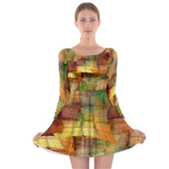 Indian Summer Funny Check Long Sleeve Skater Dress