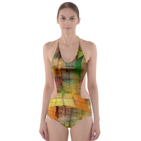 Indian Summer Funny Check Cut-Out One Piece Swimsuit