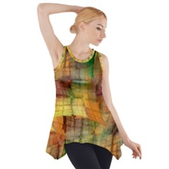 Indian Summer Funny Check Side Drop Tank Tunic